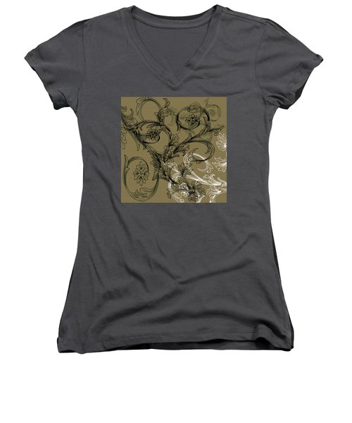 Coffee Flowers 3 Olive Women's V-Neck