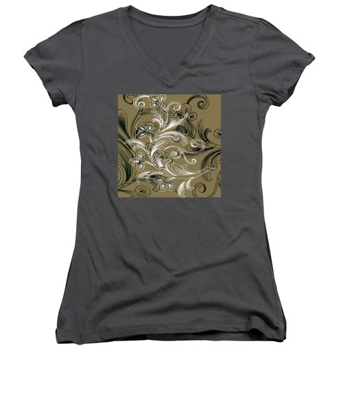Coffee Flowers 4 Olive Women's V-Neck T-Shirt
