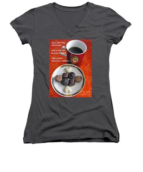 Women's V-Neck T-Shirt (Junior Cut) featuring the photograph Coffee Season by Ausra Huntington nee Paulauskaite