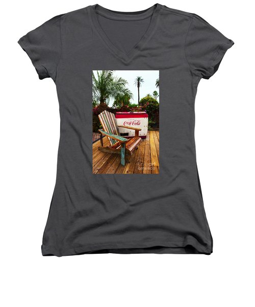 Vintage Coke Machine With Adirondack Chair Women's V-Neck (Athletic Fit)