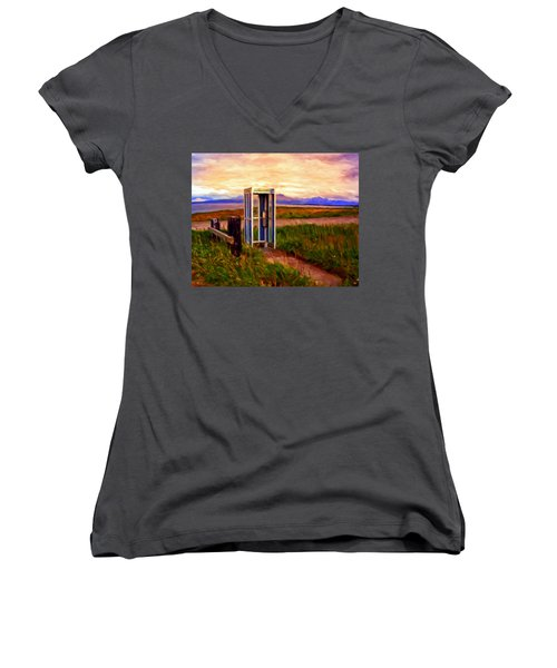 Cold Bay Ferry Service Women's V-Neck T-Shirt (Junior Cut) by Michael Pickett