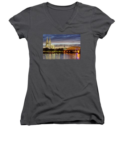 Women's V-Neck featuring the photograph Cologne Cathedral With Rhine Riverside by Heiko Koehrer-Wagner