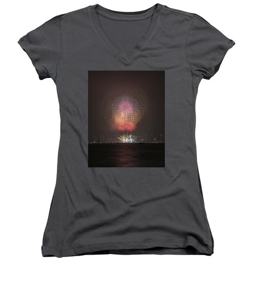 Colored Skies Women's V-Neck T-Shirt (Junior Cut) by John Swartz