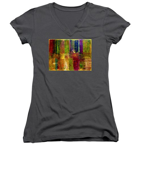 Color Panel Abstract Women's V-Neck