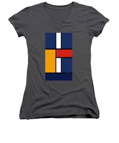 Color Squares - Mondrian Inspired Women's V-Neck T-Shirt (Junior Cut) by Enzie Shahmiri
