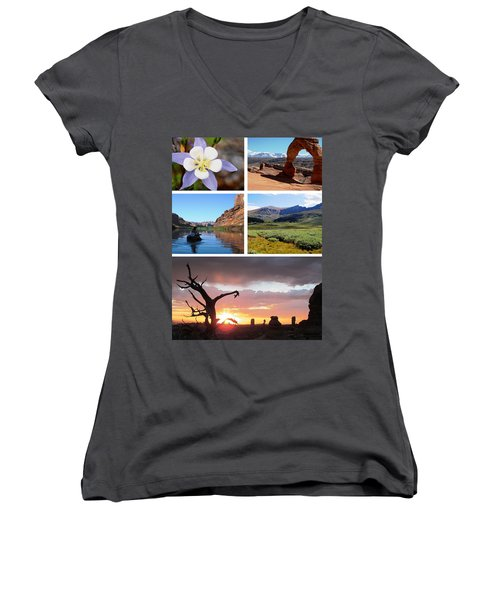 Colorado Utah Calendar 2018 Women's V-Neck T-Shirt