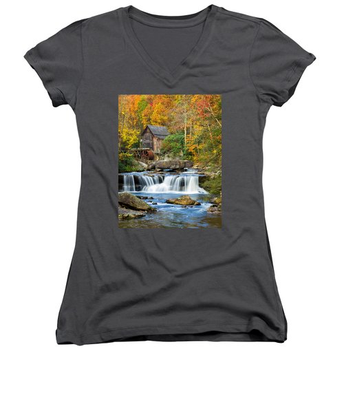 Colorful Autumn Grist Mill Women's V-Neck (Athletic Fit)