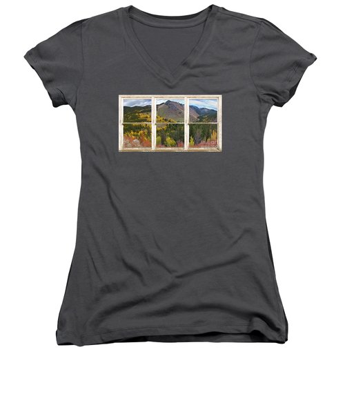 Colorful Colorado Rustic Window View Women's V-Neck