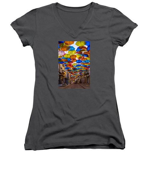 Colorful Floating Umbrellas Women's V-Neck T-Shirt (Junior Cut) by Marco Oliveira