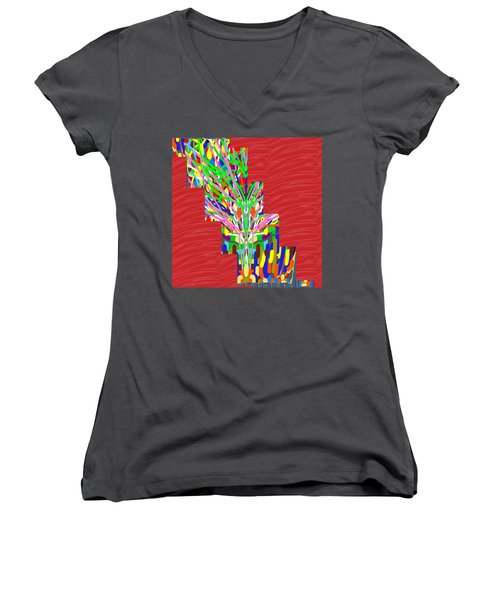 Women's V-Neck T-Shirt (Junior Cut) featuring the photograph Colorful Tree Of Life Abstract Red Sparkle Base by Navin Joshi