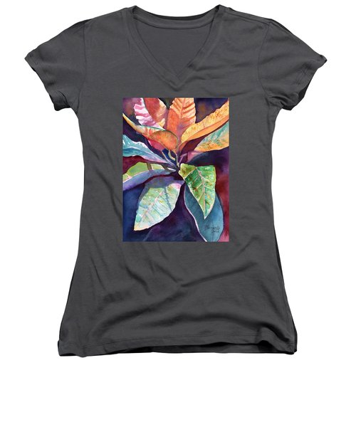 Colorful Tropical Leaves 3 Women's V-Neck