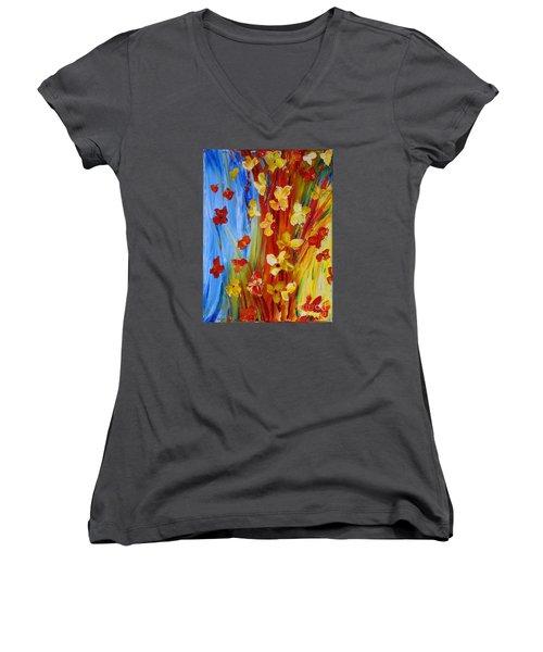 Colorful World Women's V-Neck T-Shirt (Junior Cut) by Teresa Wegrzyn