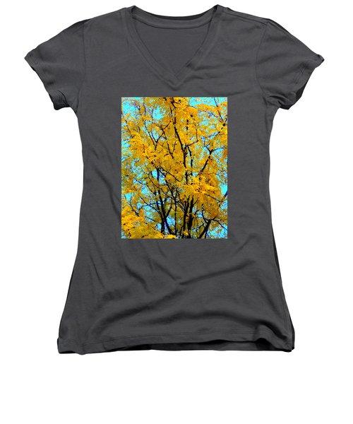 Colors Of Fall - Smatter Women's V-Neck T-Shirt