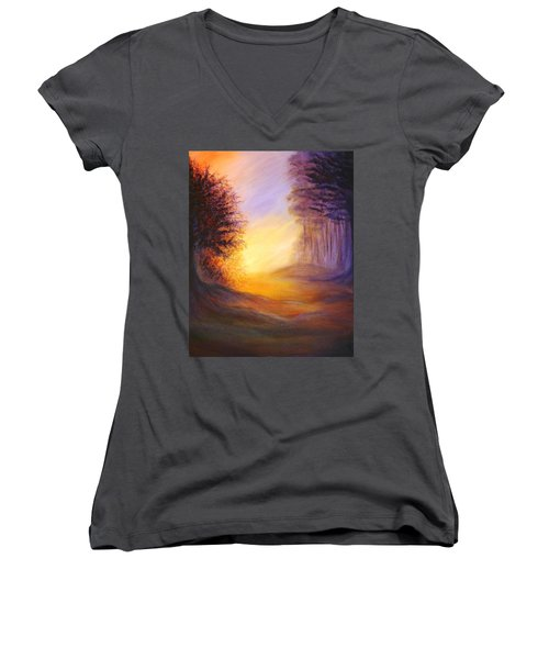Colors Of The Morning Light Women's V-Neck T-Shirt (Junior Cut) by Lilia D
