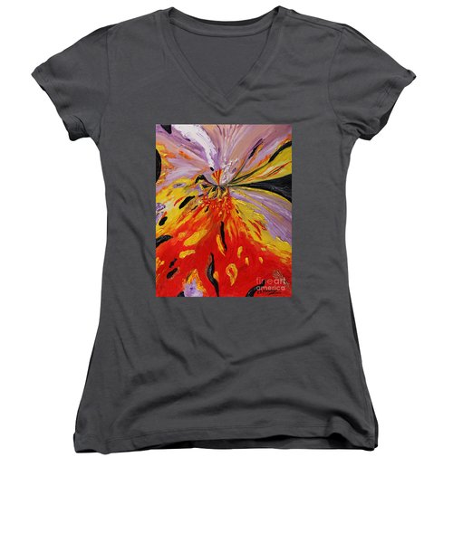 Colourburst Women's V-Neck T-Shirt (Junior Cut) by Loredana Messina