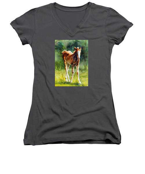 Colt In Green Pastures Women's V-Neck T-Shirt (Junior Cut) by Bonnie Rinier