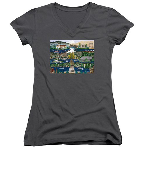 Women's V-Neck T-Shirt (Junior Cut) featuring the painting Columbia River Gorge by Jennifer Lake