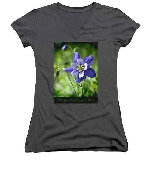 Columbine Card  Women's V-Neck T-Shirt (Junior Cut)