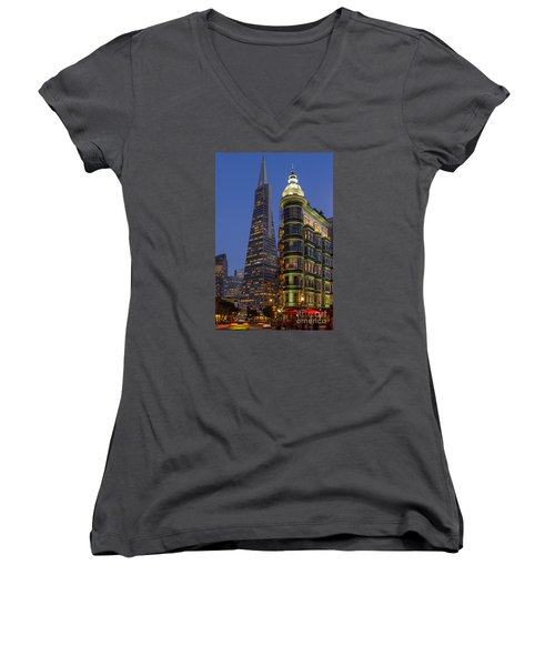 Columbus And Transamerica Buildings Women's V-Neck T-Shirt (Junior Cut) by Jerry Fornarotto