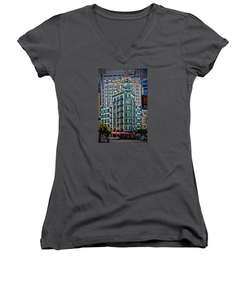 Columbus Tower In San Francisco Women's V-Neck