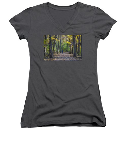 Women's V-Neck T-Shirt (Junior Cut) featuring the photograph Come For A Walk by Sebastian Musial