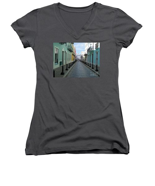 Women's V-Neck T-Shirt (Junior Cut) featuring the photograph San Juan Puerto Rico by Roberta Byram