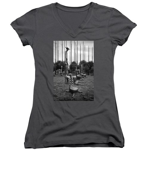Come Sit With Us Women's V-Neck T-Shirt (Junior Cut) by Lynn Palmer