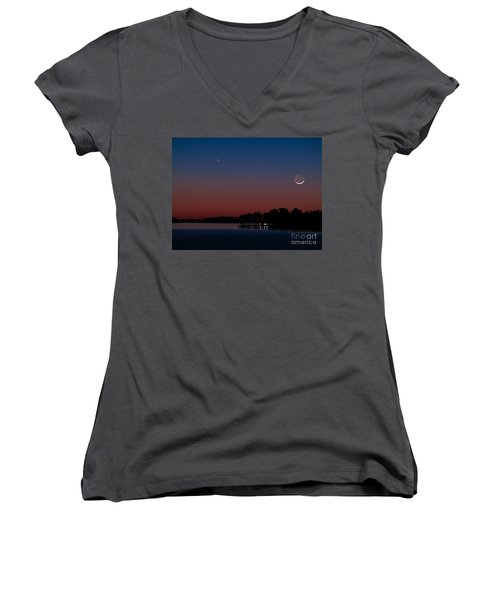 Comet Panstarrs And Crescent Moon Women's V-Neck (Athletic Fit)