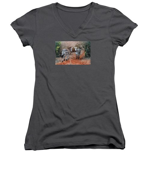 Coming And Going Women's V-Neck T-Shirt (Junior Cut) by Phyllis Kaltenbach