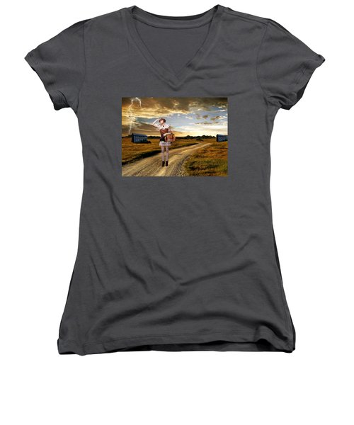 Women's V-Neck T-Shirt (Junior Cut) featuring the photograph Coming Home by Ester  Rogers