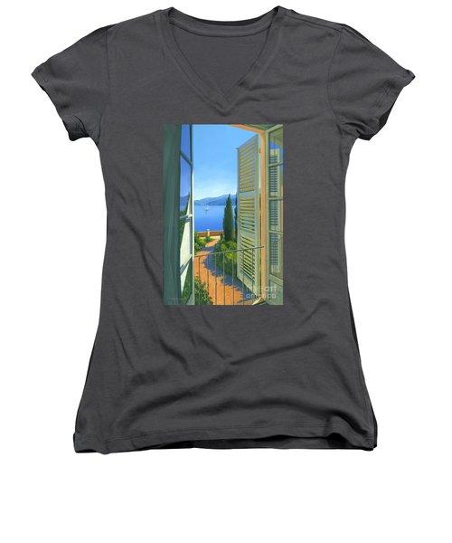 Como View Women's V-Neck T-Shirt (Junior Cut) by Michael Swanson