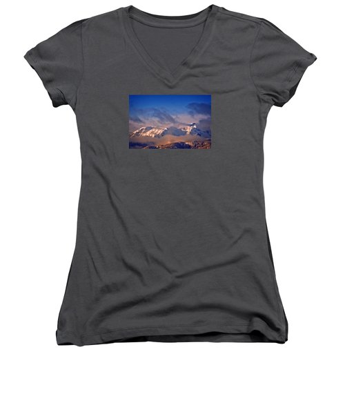 Women's V-Neck T-Shirt (Junior Cut) featuring the photograph Comox Glacier And Morning Mist by Richard Farrington
