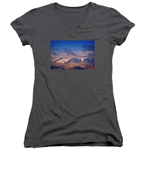 Comox Glacier And Morning Mist Women's V-Neck