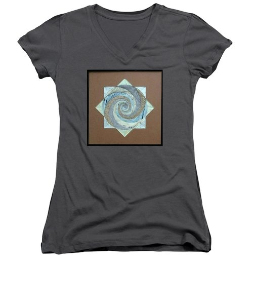 Women's V-Neck T-Shirt (Junior Cut) featuring the mixed media Compass Headings by Ron Davidson