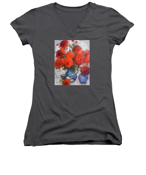 Complementary - Original Impressionist Painting - Still-life - Vibrant - Contemporary Women's V-Neck