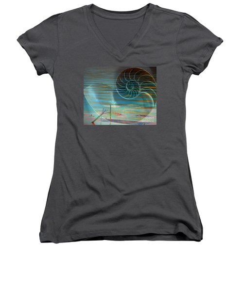 Women's V-Neck T-Shirt (Junior Cut) featuring the photograph Conch by Irma BACKELANT GALLERIES