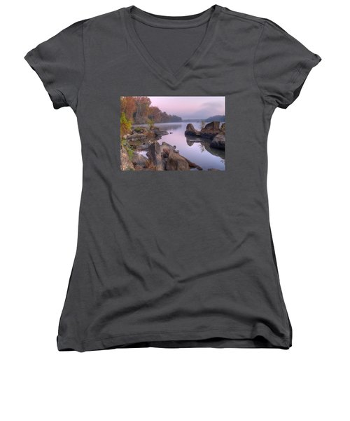 Congaree River At Dawn-1 Women's V-Neck