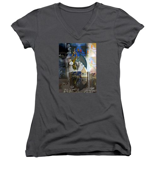 Conglomerate Or Camouflage Women's V-Neck T-Shirt (Junior Cut) by Phyllis Kaltenbach