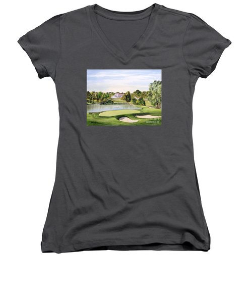 Congressional Golf Course 10th Hole Women's V-Neck T-Shirt (Junior Cut) by Bill Holkham