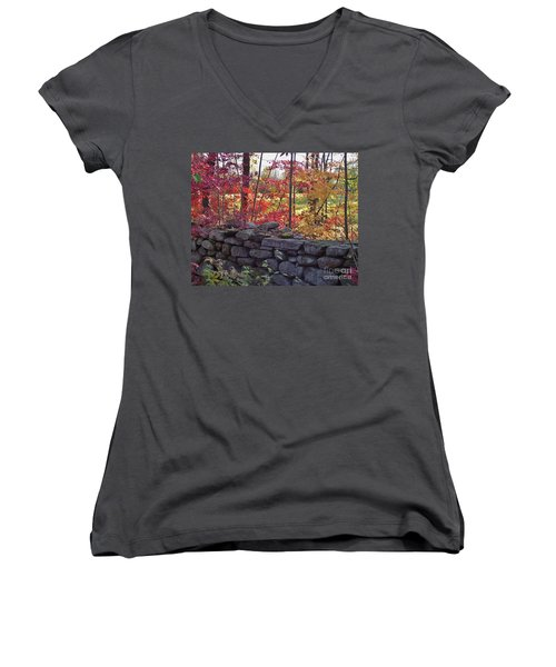 Connecticut Stone Walls Women's V-Neck (Athletic Fit)
