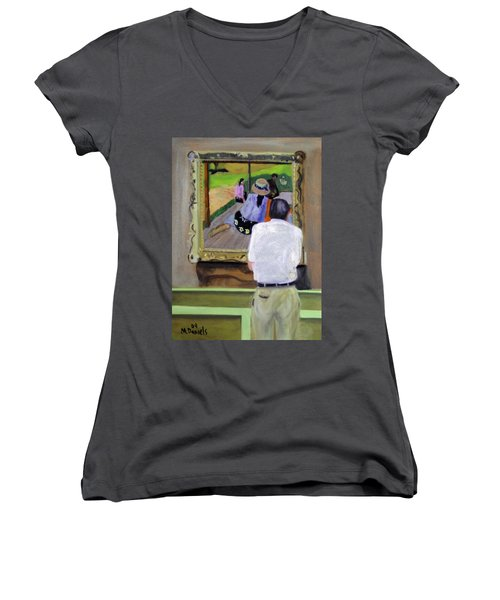 Contemplating Gauguin Women's V-Neck T-Shirt (Junior Cut) by Michael Daniels