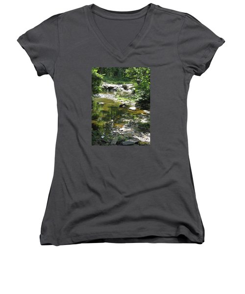 Women's V-Neck T-Shirt (Junior Cut) featuring the photograph Cool Waters by Ellen Levinson