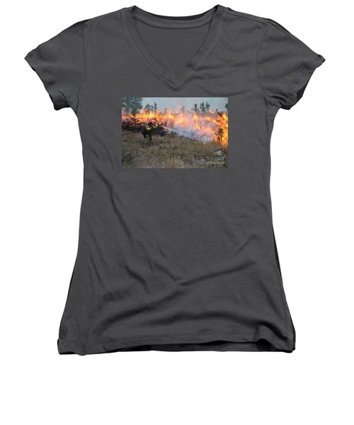Cooling Down The Norbeck Prescribed Fire. Women's V-Neck
