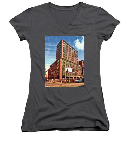 Cooper Exterior Women's V-Neck T-Shirt (Junior Cut) by Steve Sahm