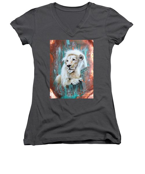 Copper White Lion Women's V-Neck T-Shirt