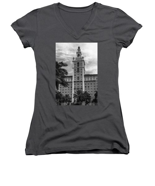 Coral Gables Biltmore Hotel In Black And White Women's V-Neck