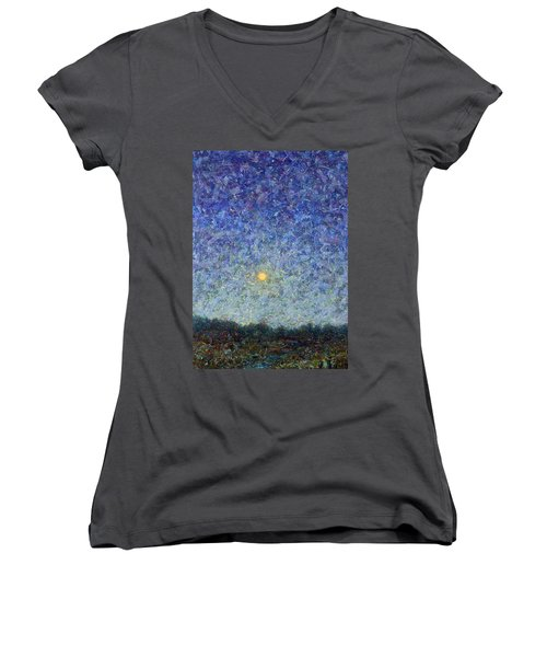 Women's V-Neck T-Shirt (Junior Cut) featuring the painting Cornbread Moon by James W Johnson