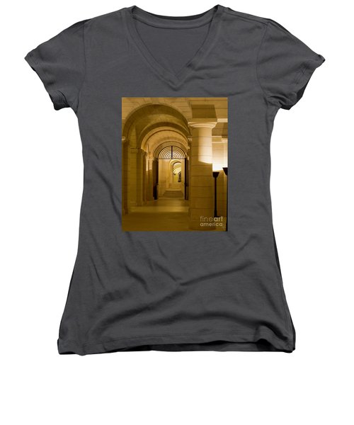 Women's V-Neck T-Shirt (Junior Cut) featuring the photograph Corridors by Victoria Harrington