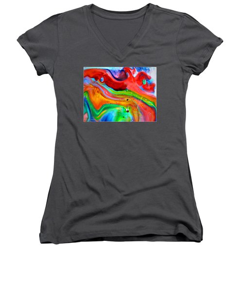 Women's V-Neck T-Shirt (Junior Cut) featuring the painting Cosmic Lights by Joyce Dickens