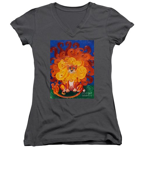 Cosmic Lion Women's V-Neck T-Shirt